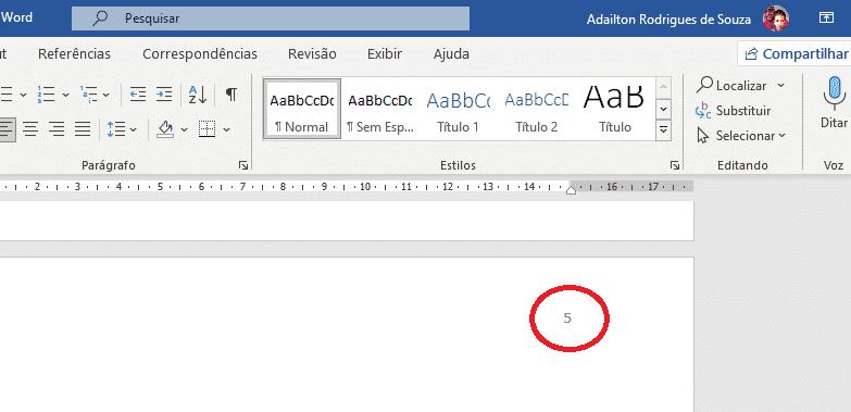 Trabalhando com seções no Word - Ativar cabeçalho e rodapé dando clique duplo em número da página