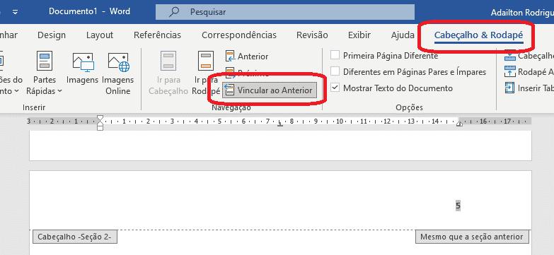 Trabalhando com seções no Word - Editar cabeçalho e rodapé