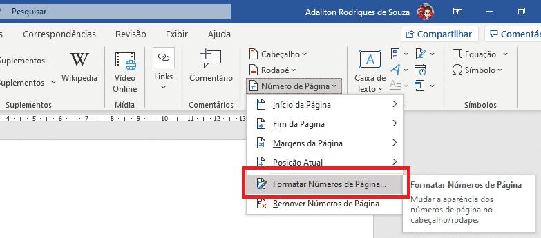 Trabalhando com seções no Word - Formatação numeração de página - Word