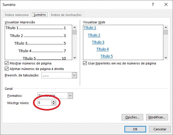 Criar sumário no Word - Níveis